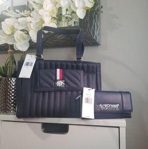 Tommy Hilfiger Navy Blue Shopper Bag and Wallet